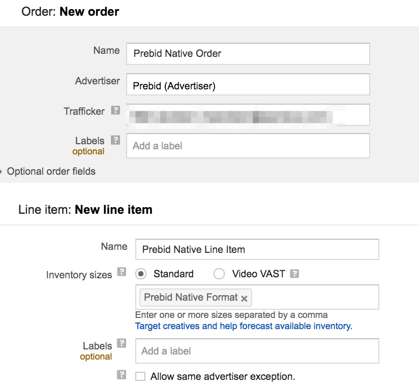create a native order and line item