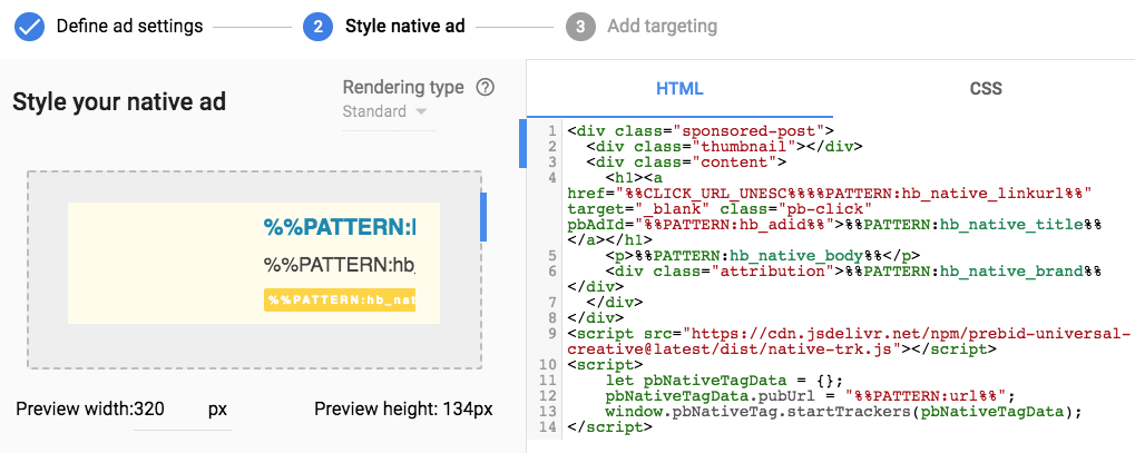 native ad styling