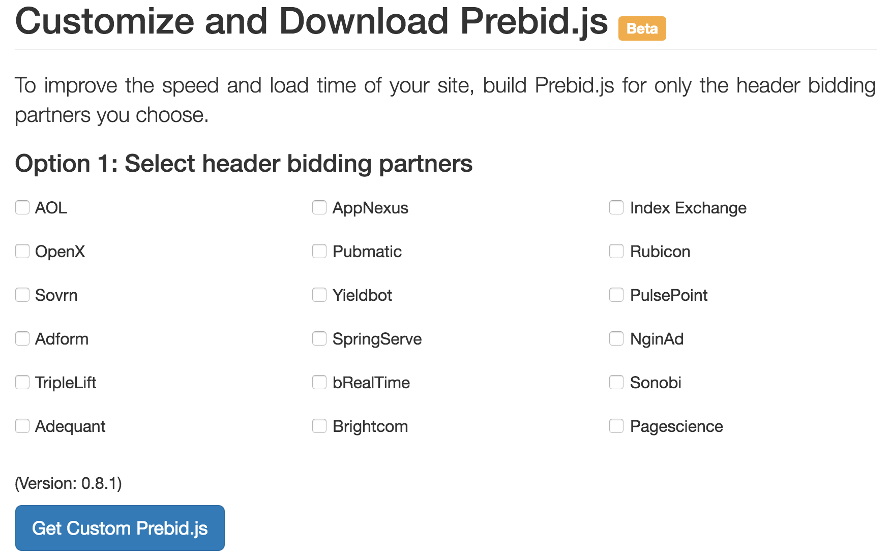Prebid.js Customize Download UI
