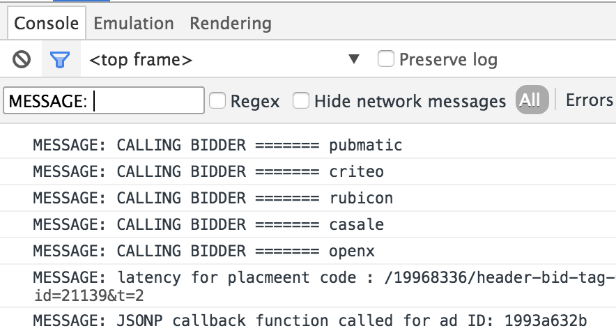 Prebid.js Debug Console