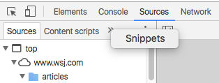 View Snippets in Dev Tools