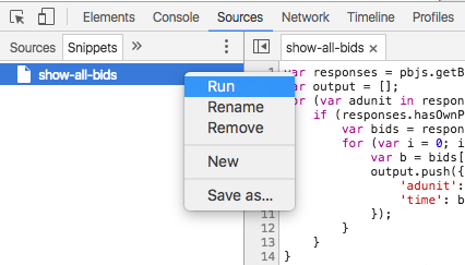 Run a Snippet in Dev Tools