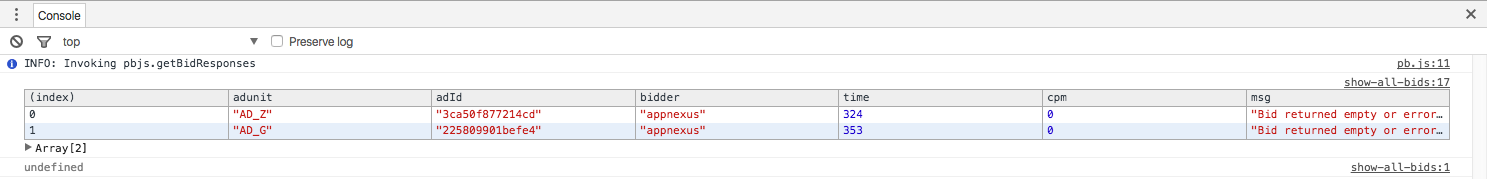 See Snippet Output in Dev Tools