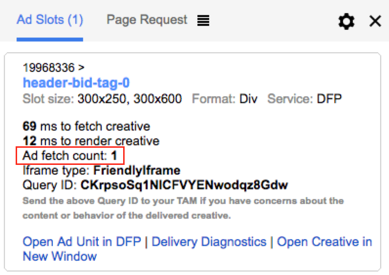 Google Publisher Console Ad fetch count