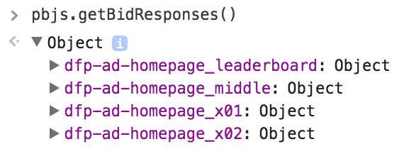 pbjs.getBidResponses() showing ad units in browser console